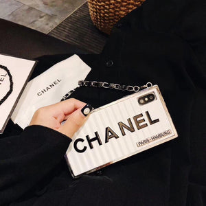 Chanel Metal Bumper Silicone Leather Chain Designer Phone Case Seek Creation