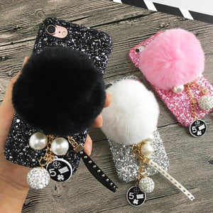 Luxury Rabbit Hair Ball Chain Rivet Pendant Phone Case - Seek Creation