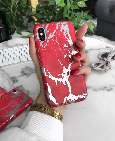 Red Rose Gold Chrome Marble Case
