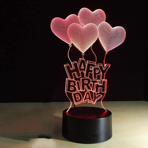 Seek Creation Happy Birthday Gift Love Balloons 3D Lamp LED Table Light Acrylic Night Lamp Gift