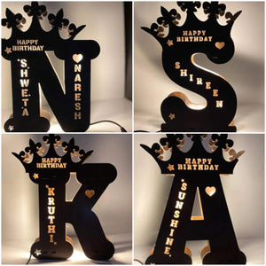 Wooden Engraved LED Night Lamp Customized Initials - Seek Creation