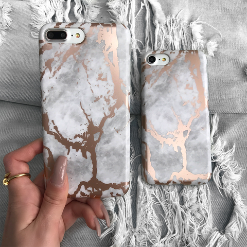 White Rose Gold Chrome Marble Case