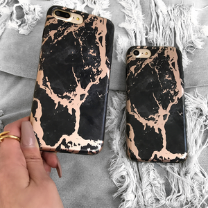 Black Rose Gold Chrome Marble Case - Seek Creation