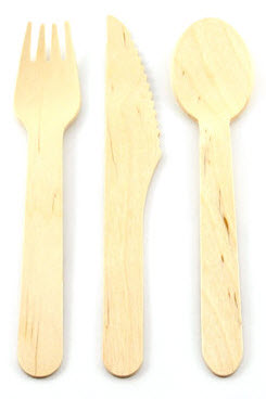 Aspenware -knife; fork; spoon kit (1 each) cello wrapped