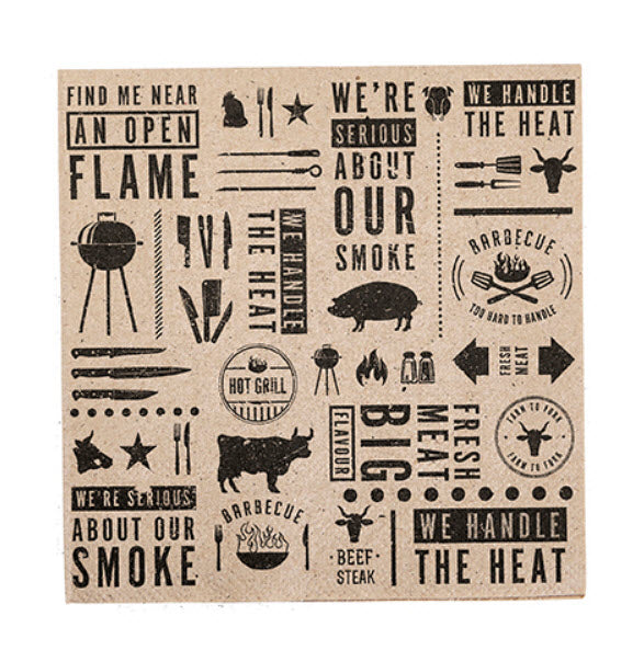 BBQ Printed Kraft Paper Luncheon Napkins