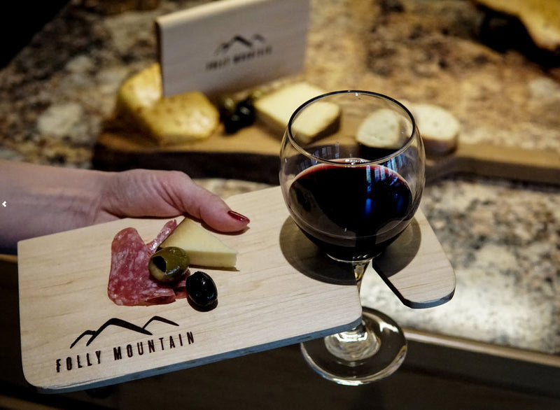 Cedar Wine Holder and Tray - Folly Mountain Grilling