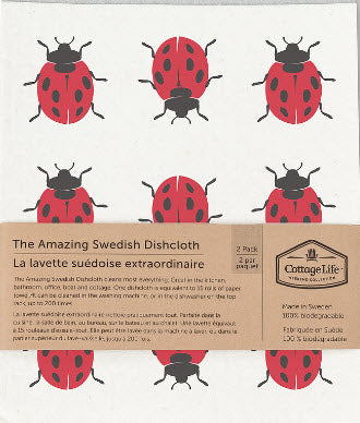 Cottage Life - Lady Bug - Amazing Swedish Dishcloth - 2 cloth pack