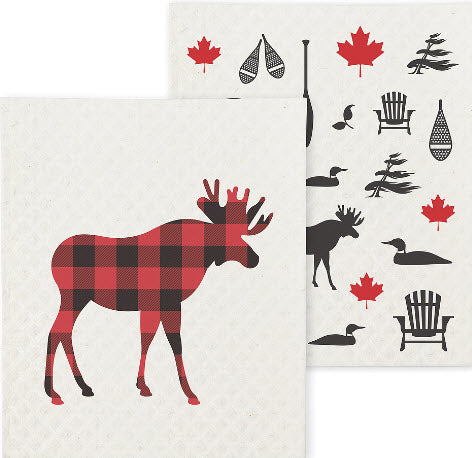 Cottage Life - Northern/Moose Bug - Amazing Swedish Dishcloth - 2 cloth pack