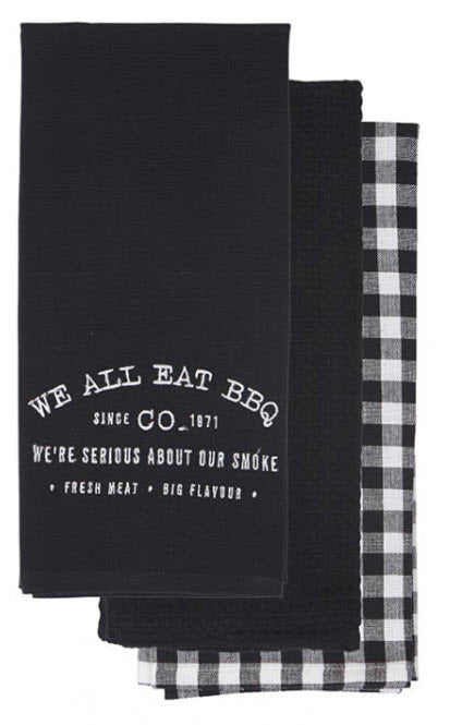 We All Eat BBQ embroidered Tea Towel set - 3 piece