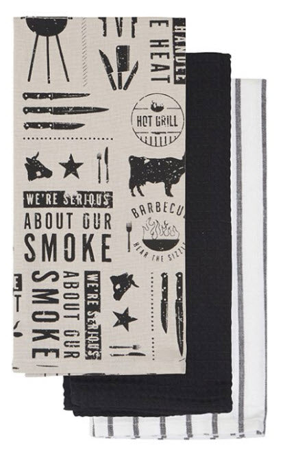 We All Eat BBQ (print) Tea Towel Set - 3 towels