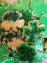Shamrock Shaped Sugar Cookies Dipped in White Chocolate or Green Icing w/Nonpareils