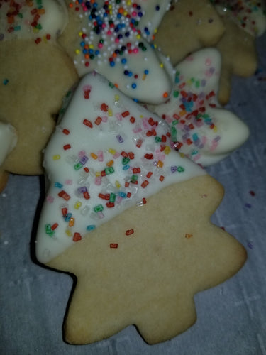 Christmas Themed Sugar Cookies Dipped in White or Milk Chocolate or Colorful Icing w/Nonpareils