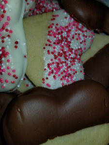 Heart Shaped Sugar Cookies Dipped in White Chocolate and Milk Chocolate