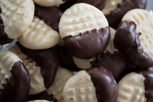 Italian Butter Cookies Dipped in Chocolate Ganache