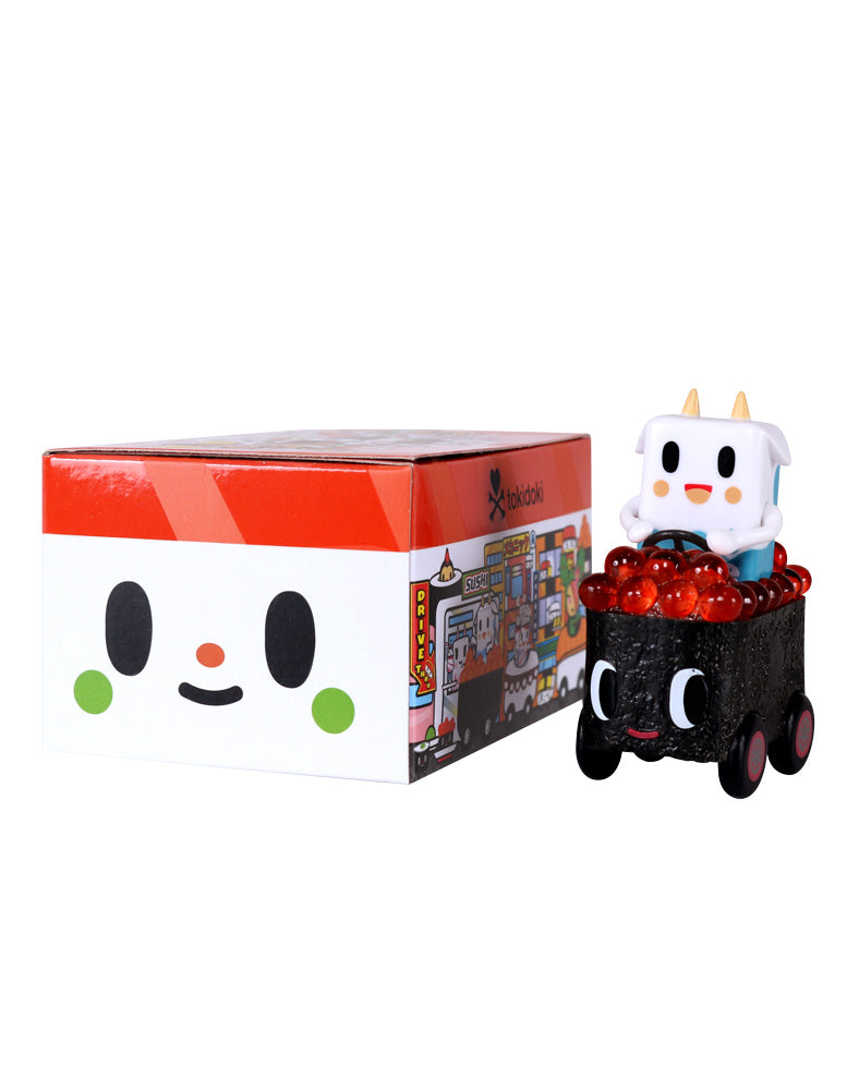 Sushi Cars Blind Box figure next to box