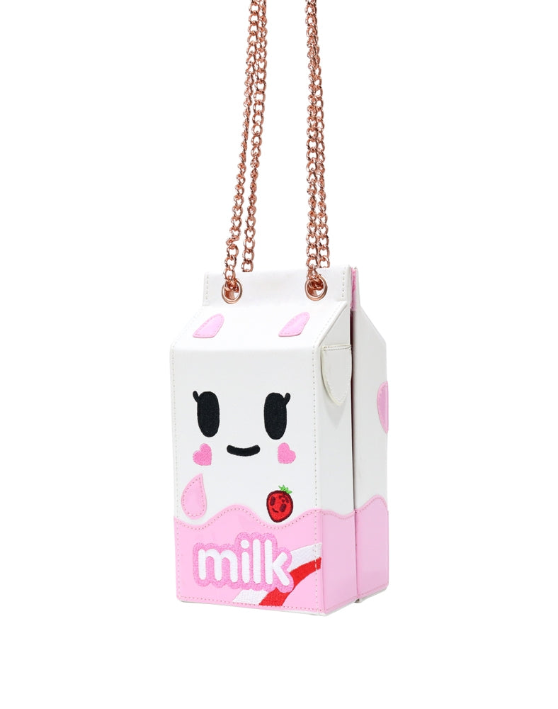 Camo Kawaii Strawberry Milk Carton Handbag front and side