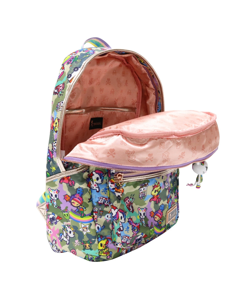 Camo Kawaii Backpack unzipped inside