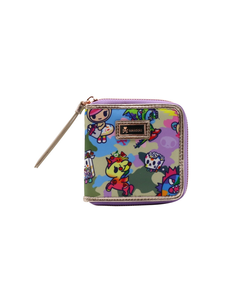 Camo Kawaii Small Zip Around Wallet front