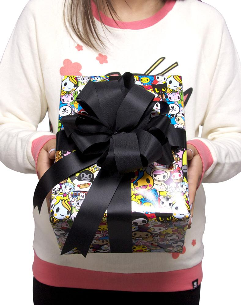 tokidoki All Stars Wrapping Paper on gift with model