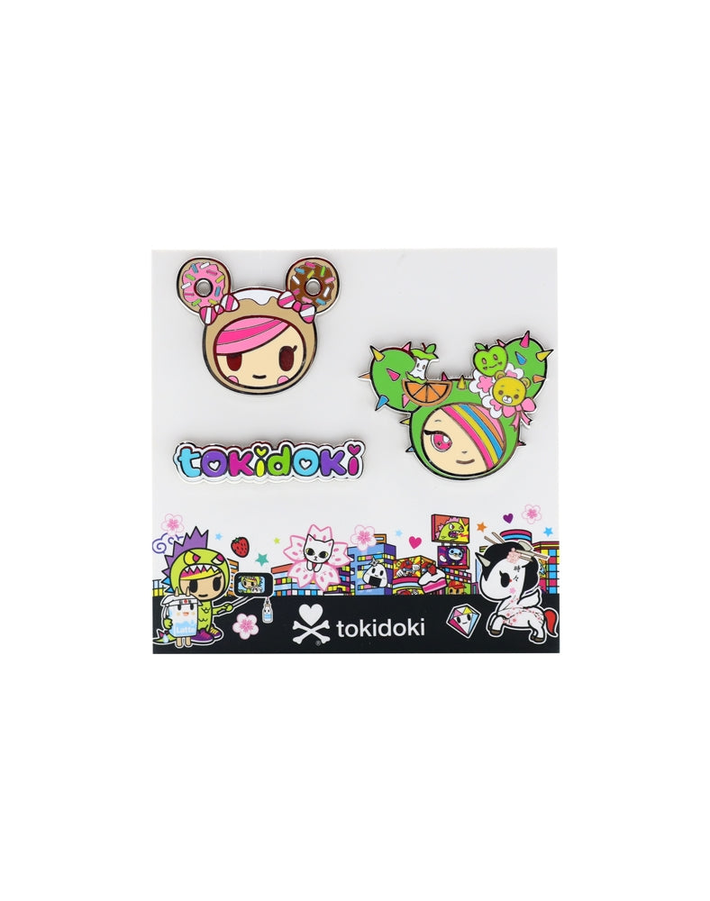Kawaii Metropolis Enamel Pin 3-Pack complete set featuring Donutella and SANDy