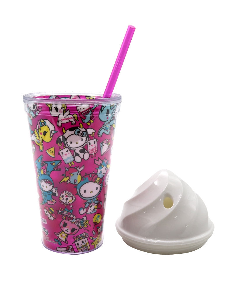 tokidoki x Hello Kitty Kawaii Straw Cup lid off