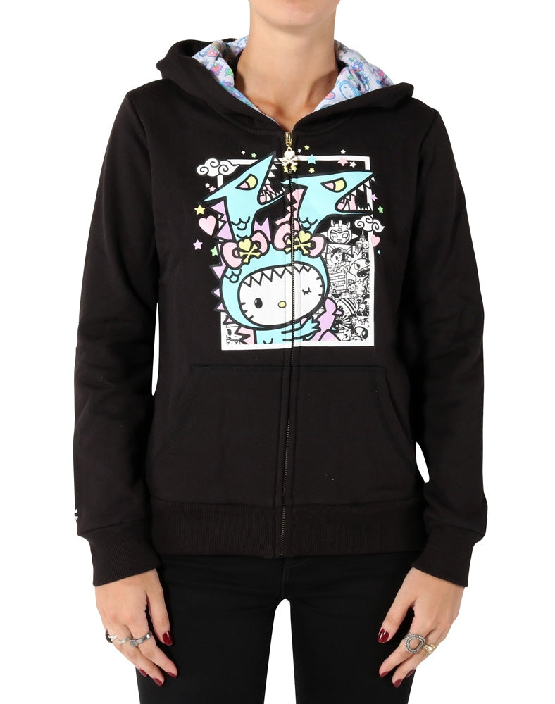 tokidoki x Hello Kitty Kawaii Kitty Kaiju Hoodie front