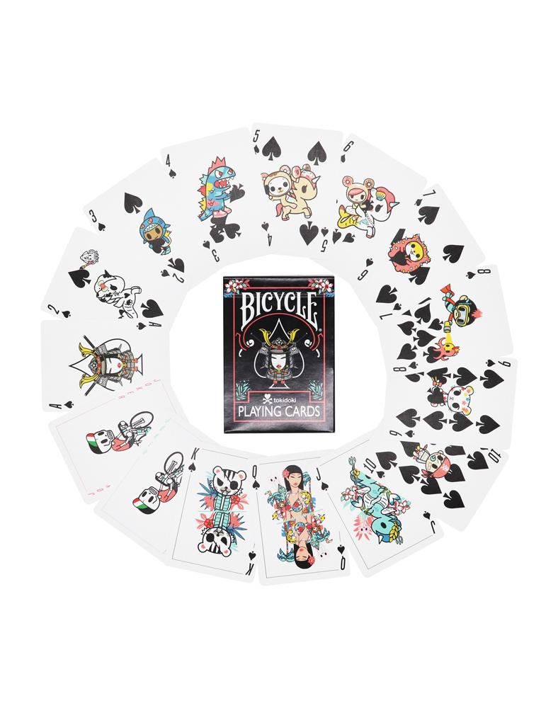 tokidoki Bicycle® Playing Cards - Tropical (Black) Displayed