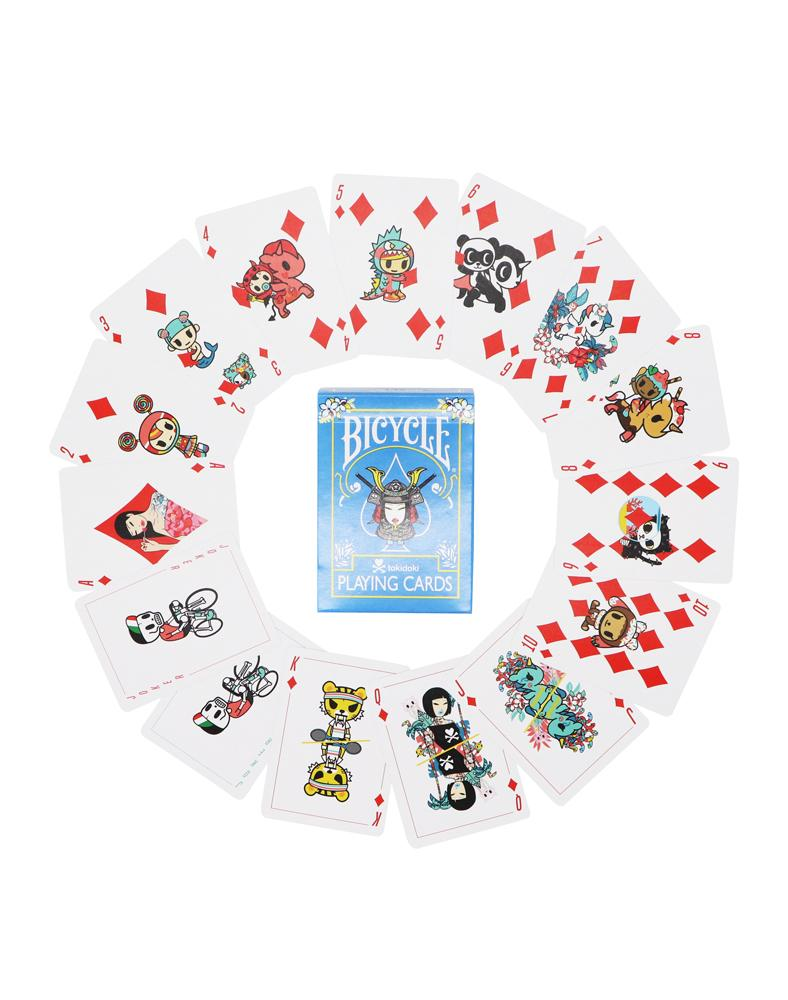tokidoki Bicycle® Playing Cards - Tropical (Blue) Displayed
