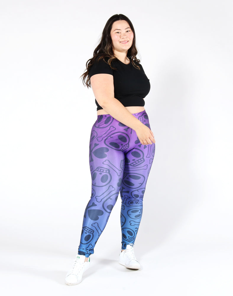Crossbones Leggings - Purple Front 2