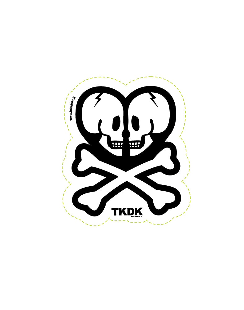 tkdk Double Skull Die Cut Sticker
