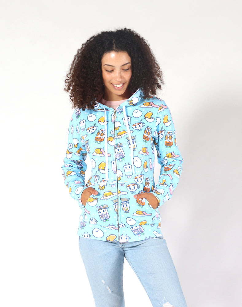 tokidoki x gudetama Gude Breakfast Hoodie Close