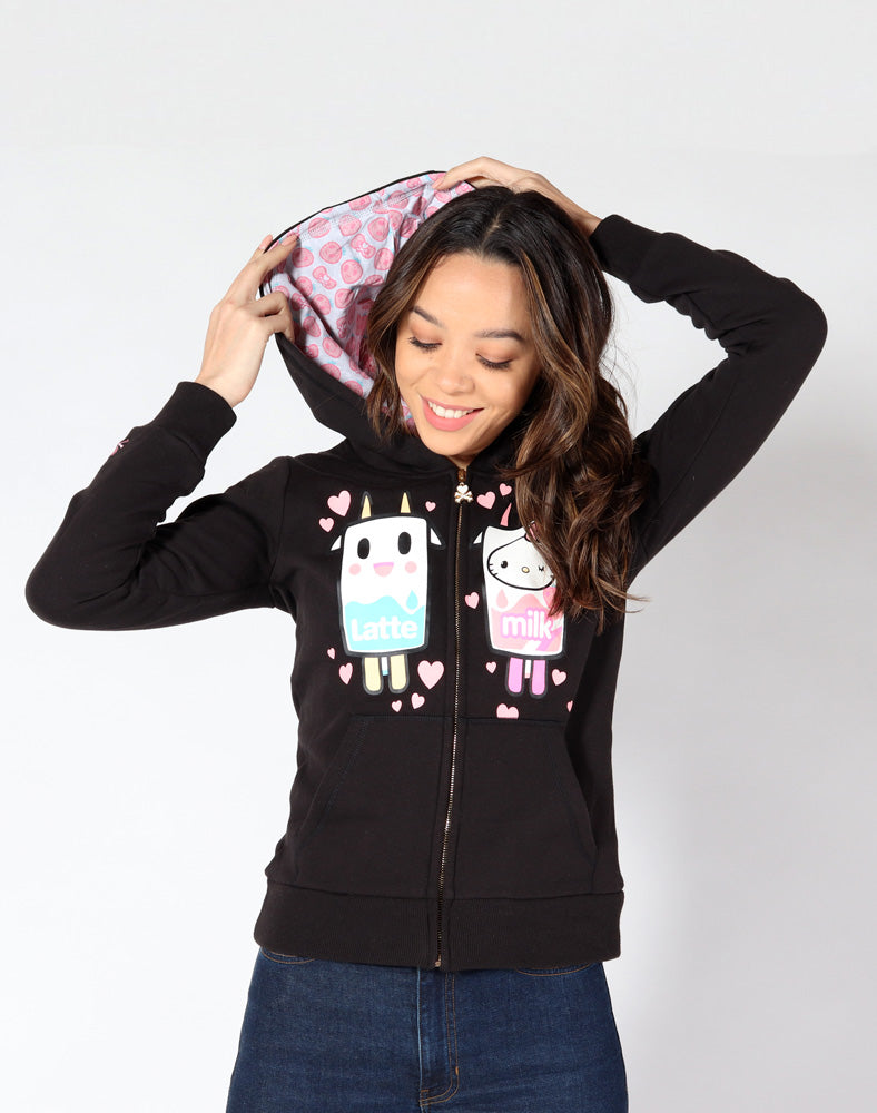 32f21264f tokidoki x Hello Kitty Latte Kitty Love Hoodie front. tokidoki x Hello Kitty  Latte Kitty Love Hoodie front