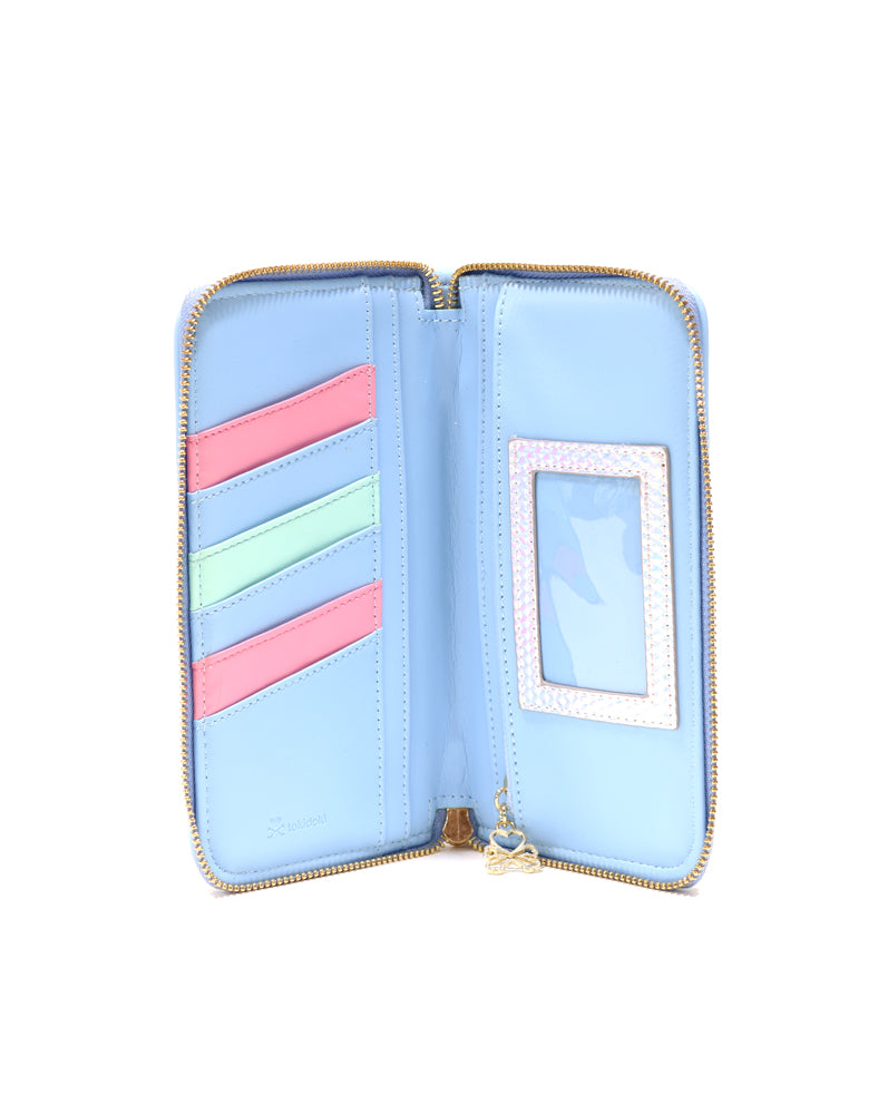 Watercolor Paradise Long Wallet unzipped inside