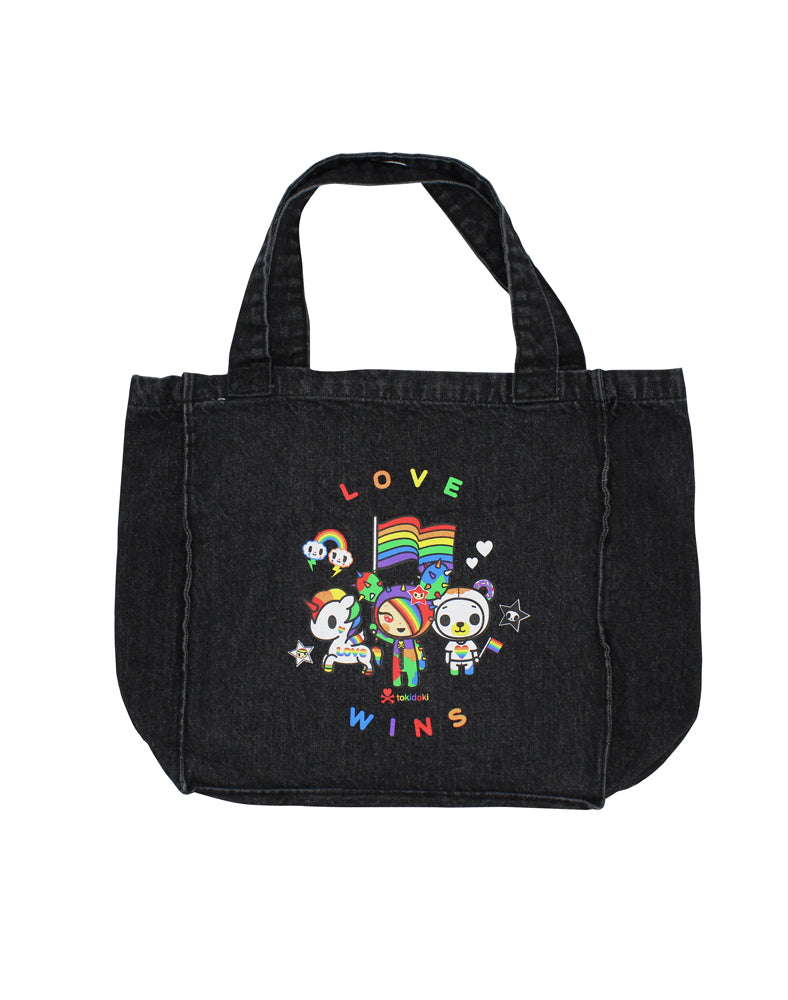 Love Wins Denim Tote Back