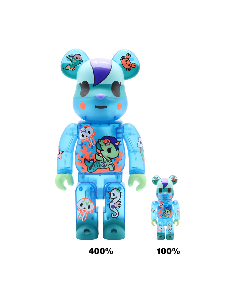 tokidoki x Be@rbrick Mermicorno: Sirena Sizes