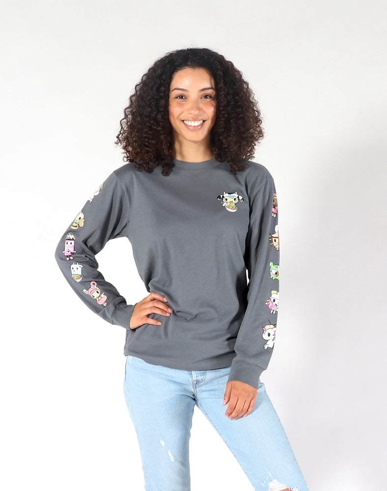 Noodle Sleeves Long Sleeve Tee (Unisex) Front F Model