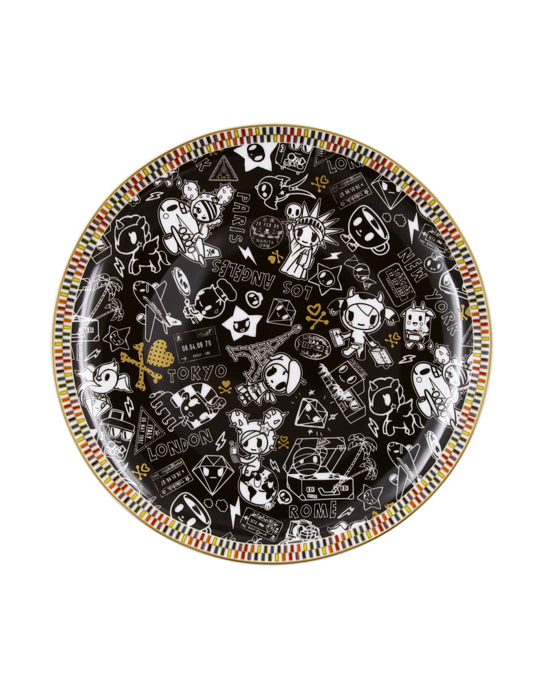 "Rainbow Series Black 8"" Ceramic Plate"