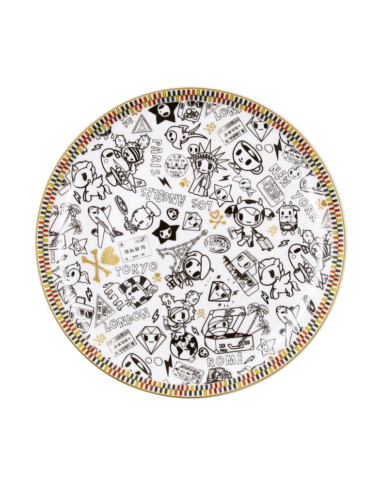 "Rainbow Series White 8"" Ceramic Plate"