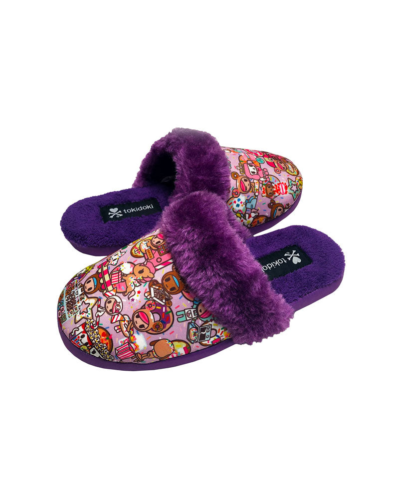Donutella's Sweet Shop Women's Soft Slippers Side View
