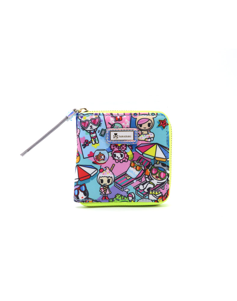 Pool Party Small Zip Around Wallet Front