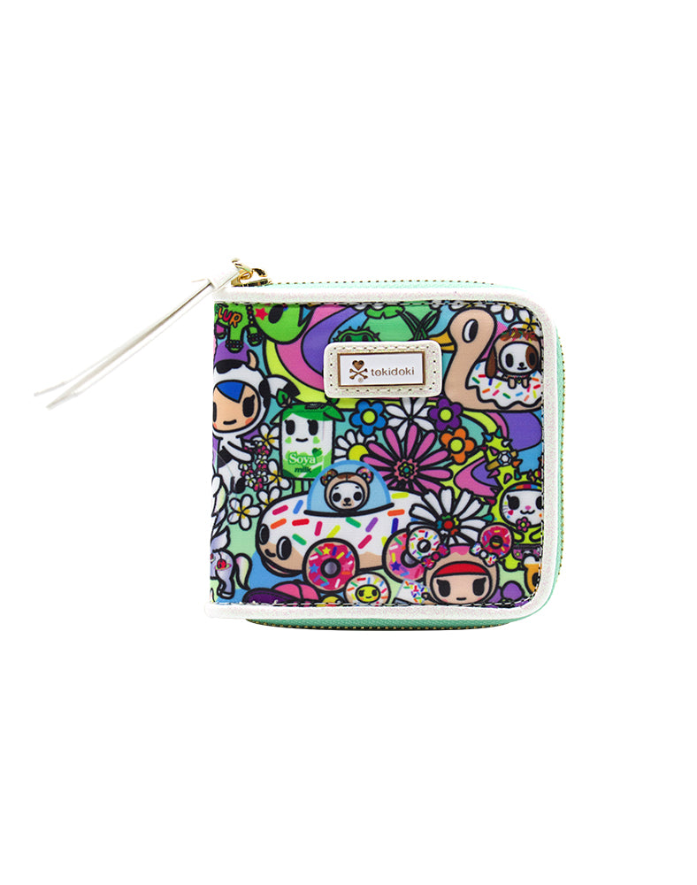 Flower Power Small Zip Around Wallet Front