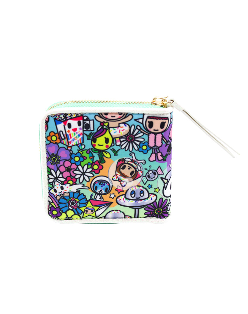 Flower Power Small Zip Around Wallet Back