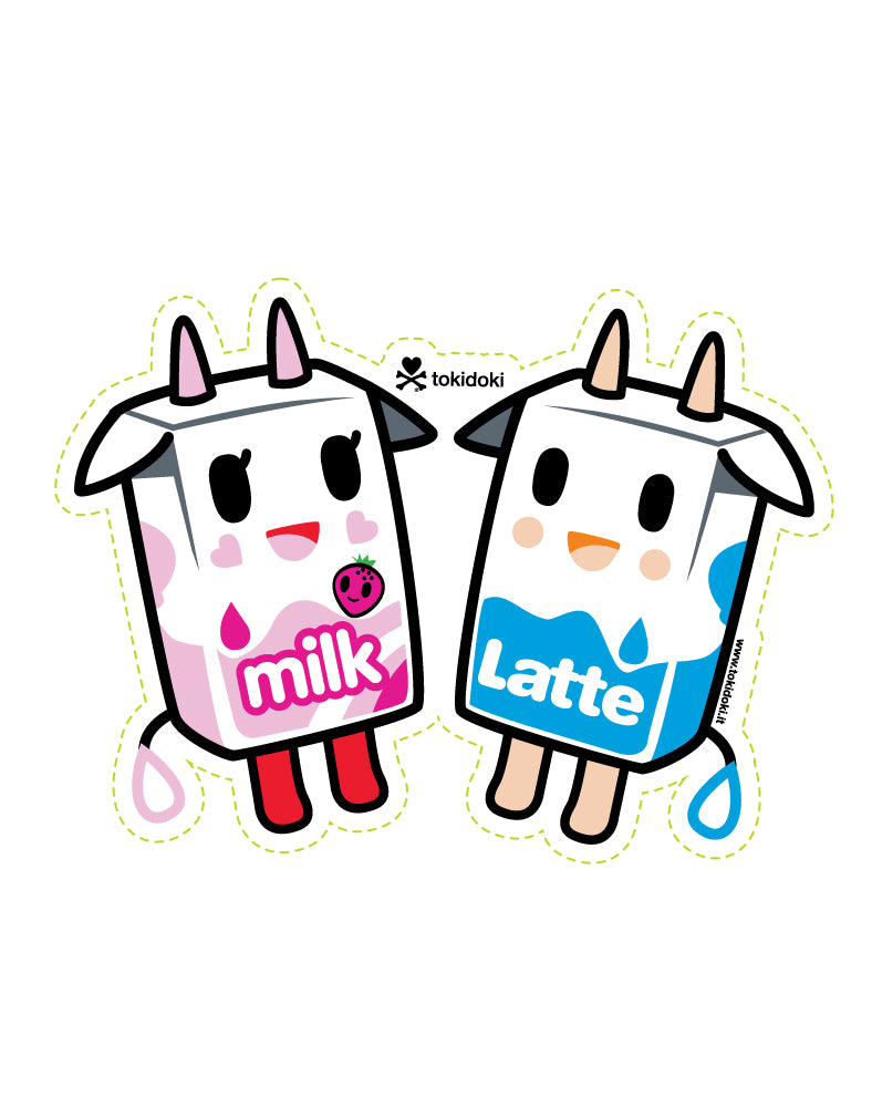 Latte & Strawberry Milk Die Cut Sticker