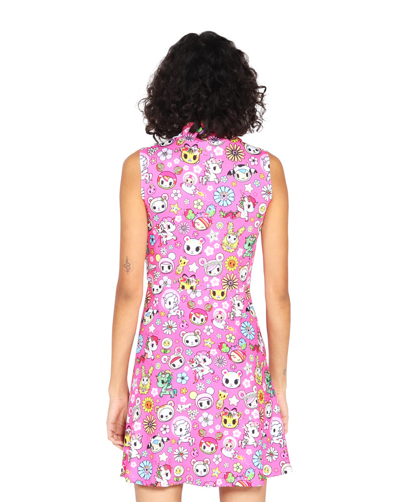 Super Bloom Mock Neck Skater Dress Back