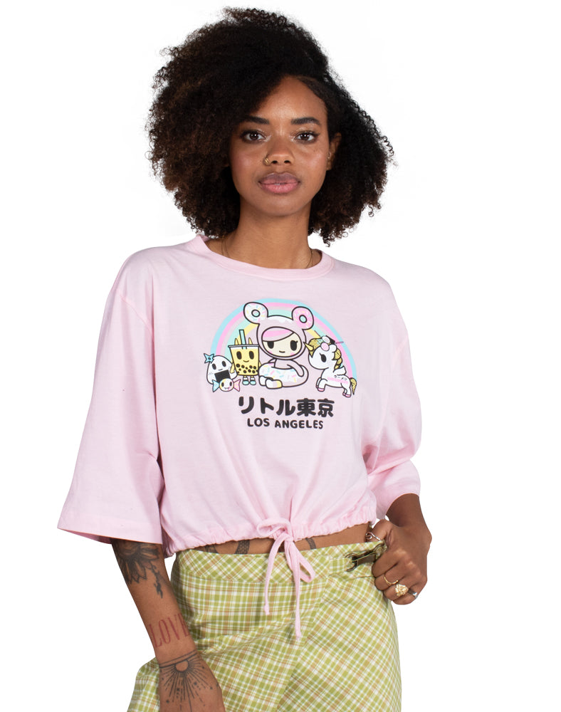 TOKI LA Oversized Cinched Crop Top Tee