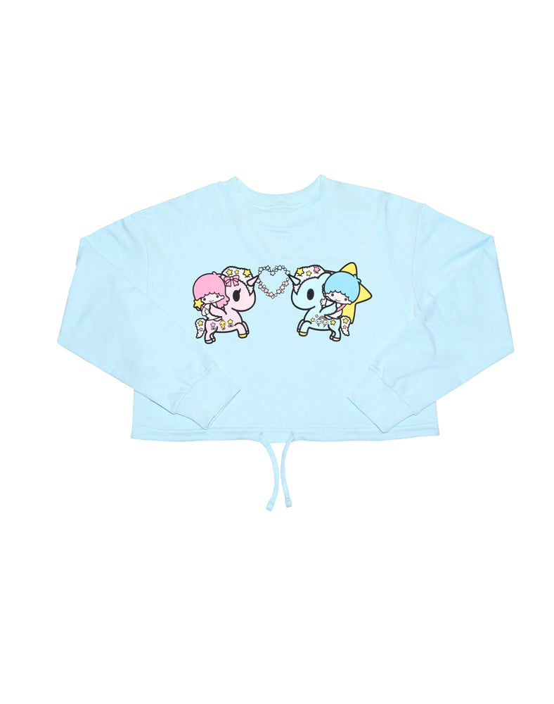 tokidoki x Hello Kitty and Friends Toki Twin Stars Cropped Sweatshirt Front