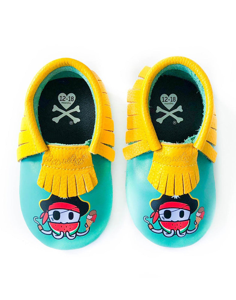 tokidoki x Itzy Ritzy Moc Happens Leather Baby Moccasins Piratako above shot