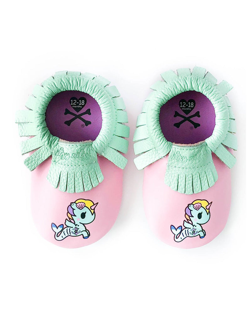 tokidoki x Itzy Ritzy Moc Happens Leather Baby Moccasins Sirena above shot
