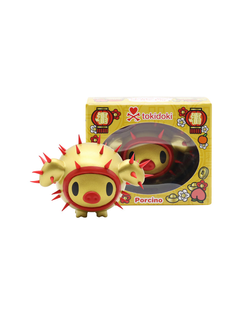 Year of the Pig 2019 Vinyl Figure next to box, front
