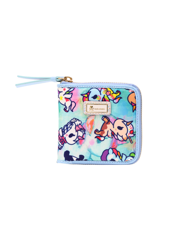 Watercolor Paradise Small Zip Around Wallet front